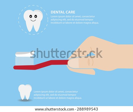 Dental care with tooth brush in human hand vector illustration - stock vector