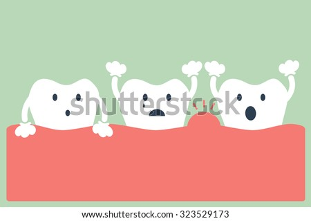 dental cartoon vector, tooth periodontal disease - stock vector