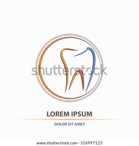 Dental clinic badge in orange and blue color concept style logo art - stock vector