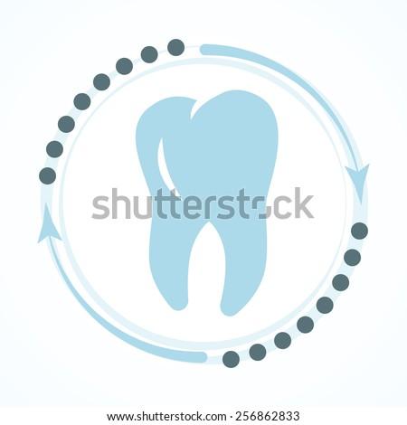 Dental clinic concept logo blue color design - stock vector