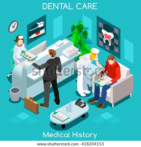 Dental Clinic dentist patient medical history waiting room before medical dental visit. Dental care concept clinic room. Hospital clinic reception patients waiting medical consult vector illustration. - stock vector
