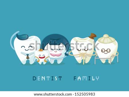 dental family - stock vector