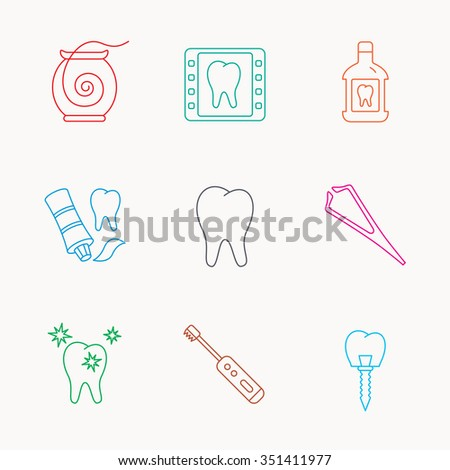 Dental floss, tooth and implant icons. Mouthwash, x-ray and toothpaste linear signs. Electric toothbrush. Linear colored icons. - stock vector