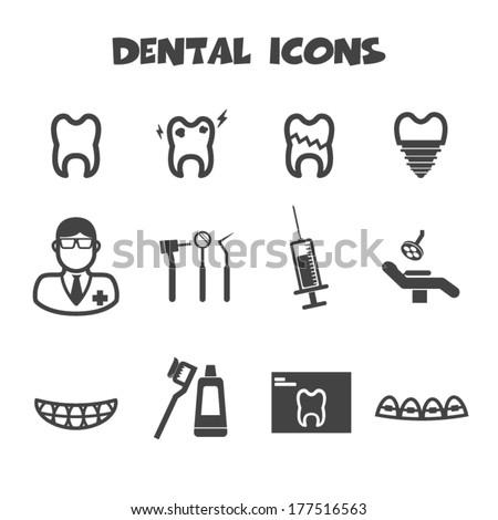 dental icons, vector symbols - stock vector