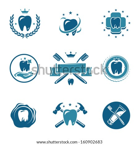 Dental labels and icons set. Vector  - stock vector