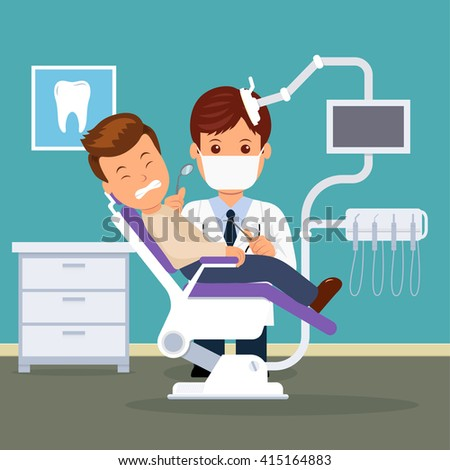 Dental office. Dentist and patient in the dental chair. Treatment and care of the oral cavity. Male in the dentist's chair with a toothache. - stock vector