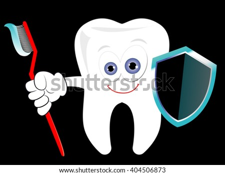 Dental protection conceptual vector illustration. Cartoonish tooth standing with a toothbrush and a shield. Dental care symbol - stock vector