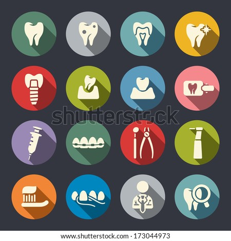 Dental theme flat icons - stock vector