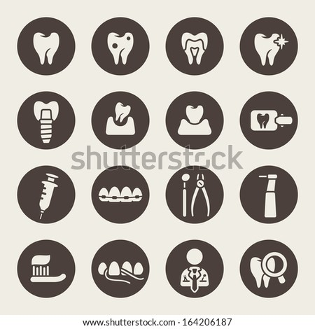 Dental theme icons - stock vector