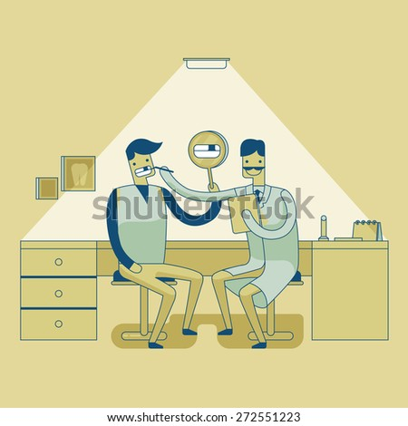 Dentist checkup teeth 's man - stock vector