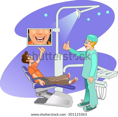 Dentist's modern working place. Boy visiting the dentist and smiling - stock vector