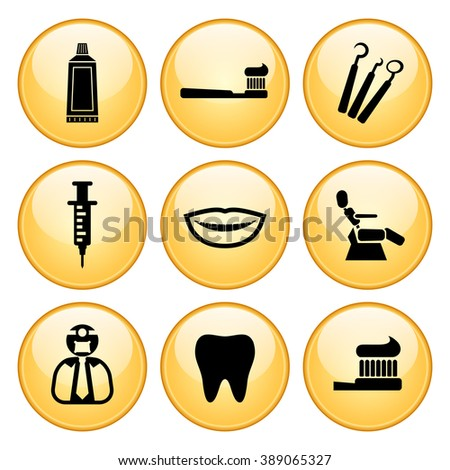 Dentist & Toothcare Icons Gold Button Icon Set - stock vector