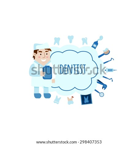 Dentist with different dental equipment flat bubbles vector illustration. Profession background - stock vector