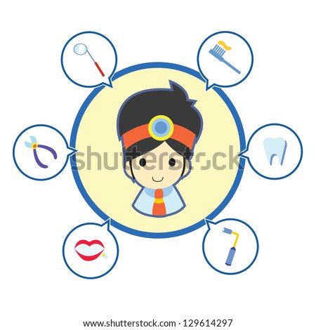 Dentist with job tool icons , Cartoon vector illustration - stock vector