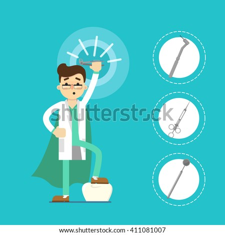 Dentist with tooth icon isolated, vector illustration - stock vector