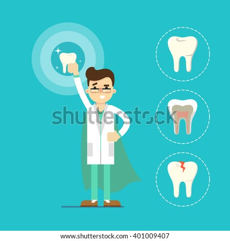 Dentist with tooth icon isolated, vector illustration. Dentist doctor. Dental work. Dental profession. Dental care. Dentist superhero. Smile. Healthy teeth. - stock vector