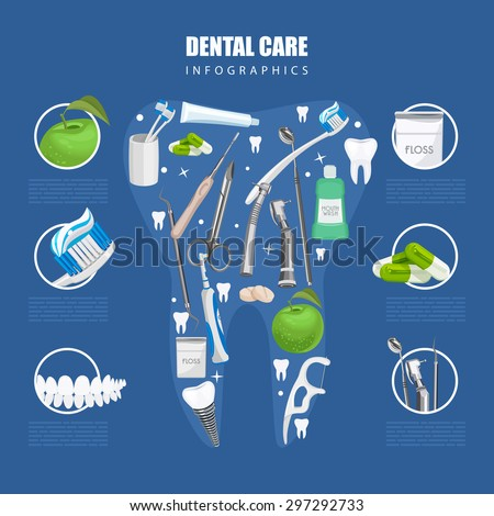 Dentistry infographics. Background with dental care symbols: tooth brush, tooth paste, dental floss, apple - stock vector