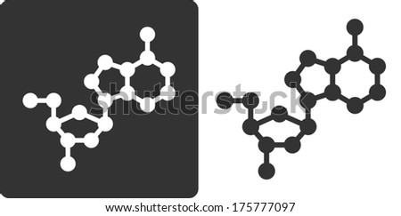Deoxyadenosine (dA) DNA building block, flat icon style. Oxygen, carbon and nitrogen atoms shown as circles; Hydrogen atoms omitted. - stock vector