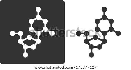 Deoxycytidine (dC) DNA building block, flat icon style. Oxygen, carbon and nitrogen atoms shown as circles; Hydrogen atoms omitted. - stock vector