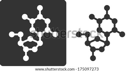 Deoxythymidine (dT) DNA building block, flat icon style. Oxygen, carbon and nitrogen atoms shown as circles; Hydrogen atoms omitted. - stock vector