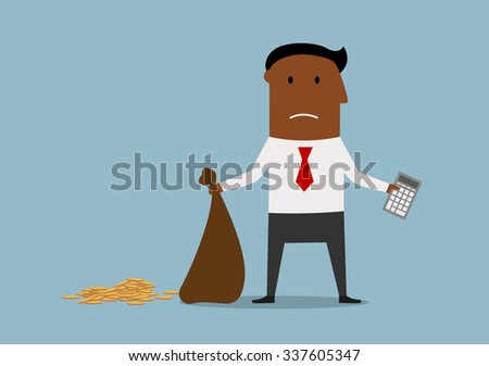 Depressed african american bankrupt businessman standing with calculator and empty money bag in hands, for financial crisis or bankruptcy theme design. Cartoon style - stock vector