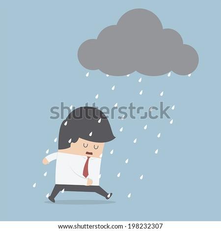 Depressed businessman walking in the rain, VECTOR, EPS10 - stock vector