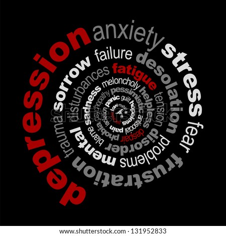 Depression concept made with words drawing a spiral - stock vector