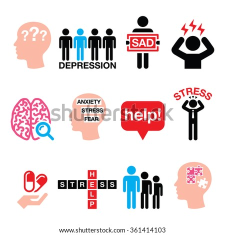 Depression, stress icons set - mental health concept  - stock vector