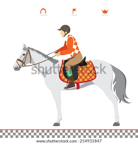 Derby. Equestrian sport. Illustration of horse. Vector. Thoroughbred horse. The Sport of Kings. Horse with Horseman - stock vector