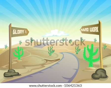 desert cartoon background with wood plank of direction - stock vector