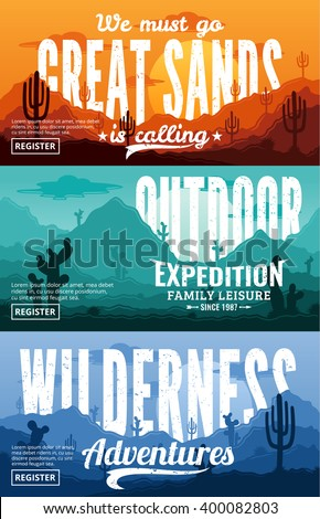 Desert horizontal banner set. Wild nature landscapes with cactus, herbs, clouds and mountains vector illustration. - stock vector