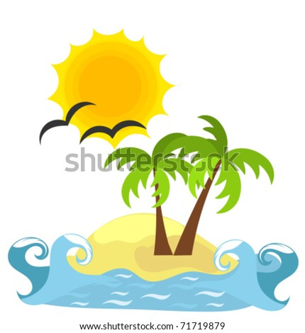 Desert island and sea. Vector paradise - holidays for solitary - stock vector