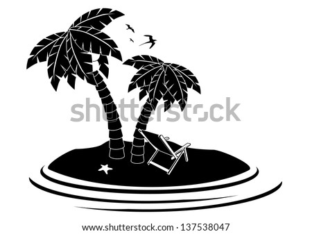 Desert Island. EPS 10 vector, grouped for easy editing. No open shapes or paths. - stock vector
