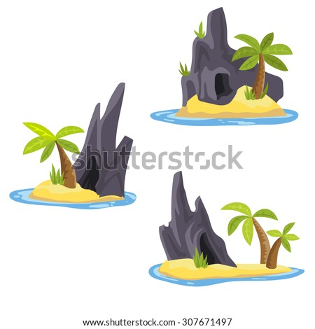 Desert island with palms and true nature inside ocean or sea in vector - stock vector