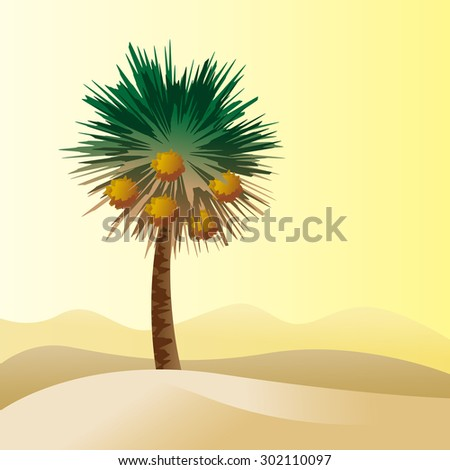 Desert landscape. Date palm tree.  - stock vector