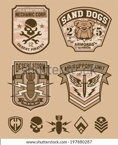 Desert military emblem patch set - stock vector