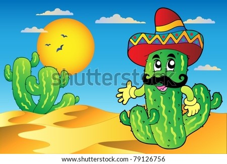 Desert scene with Mexican cactus - vector illustration. - stock vector