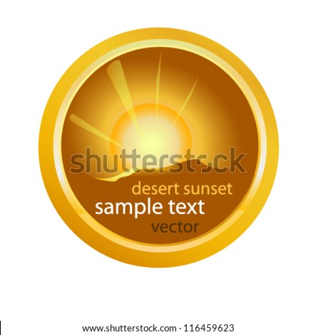 desert sunset round emblem - stock vector