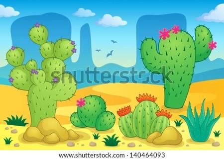 Desert theme image 2 - eps10 vector illustration. - stock vector