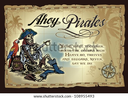 Deserted Pirate Skeleton Map - stock vector