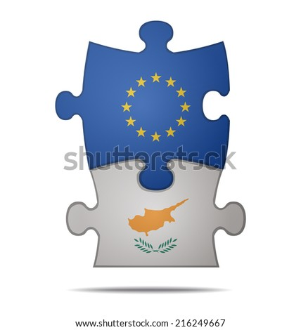 design a puzzle pieces flag europe and cyprus  - stock vector