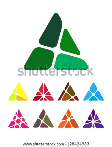 Design arrow logo element. Crushing abstract triangle pattern. Colorful precious stone icons set. A and V icon set. - stock vector