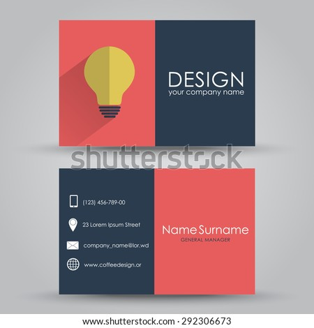 Design business card with light bulb, in a flat style for the company or individual. Vector illustration. Set. - stock vector