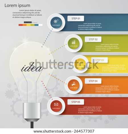 Design Business Chart 5 Steps Diagram in Light Bulb Shape. Simple&Editable Vector. - stock vector