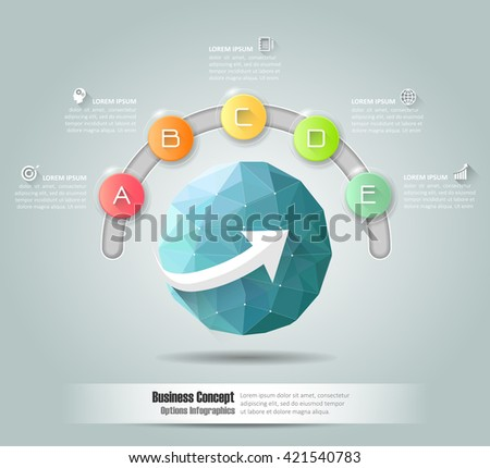 Design business circle concept infographic, can be used for workflow layout, diagram, number options, graphic or website layout. - stock vector