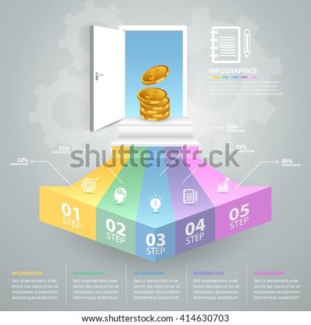 Design business doorway concept infographics. Vector illustration - stock vector