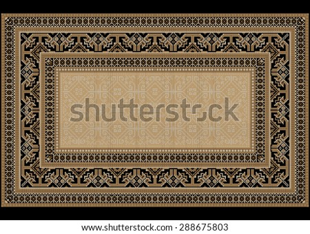 Design carpet with ethnic ornament on the sides and monophonic center in light brown shades - stock vector