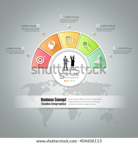 Design circle infographic template 5 steps, can be used for workflow layout, diagram, number options, graphic or website layout. - stock vector
