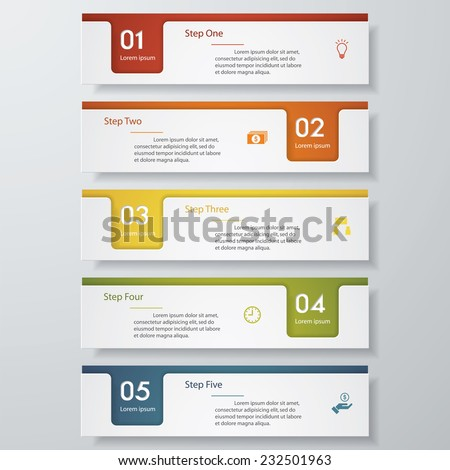 Design clean number banners template/graphic or website layout. 5 steps. Vector. - stock vector