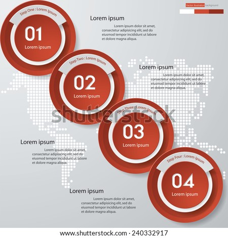 Design clean number banners template/graphic or website layout. 4 steps. Vector. - stock vector